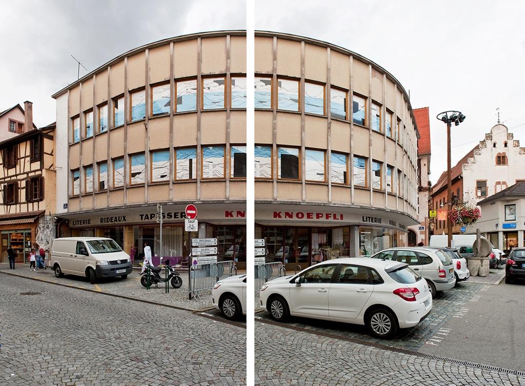 Tout le tremblement, Sélest'Art, 19ème Biennale d'art contemporain de Sélestat, fenêtres du magasin, 2011 ©F.Tiedje
